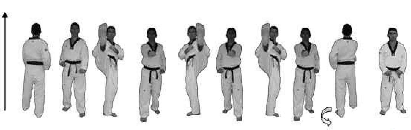 Sexto bloque de tipo frontal correspondiente  a la Taeguk I Chang con sentido único de movimiento de regreso a la posición  inicial